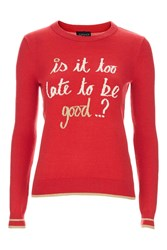 Topshop Christmas Too Late Slogan Jumper Red