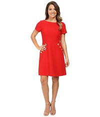 Tahari By Arthur S. Levine Petite Crepe Button Pocket Fit And Flare Lipstick Red Women's Dress