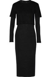 Opening Ceremony Layered Ribbed Knit Midi Dress Black