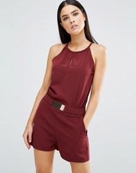 Ax Paris Playsuit With Keyhole And Metal Belt Wine Purple