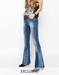 Northmore Denim Flared Jeans With Ripped Knees Blue