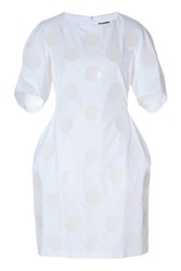 Jil Sander Cotton Dress With Dot Applique In White