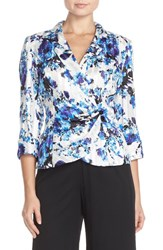 Petite Women's Alex Evenings Floral Print Chiffon Wrap Blouse