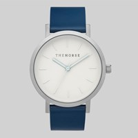 The Horse Brushed Silver White Face Navy Leather Watch