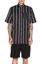 Givenchy Short Sleeve Button Down Shirt In Black Stripes