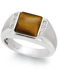 Macy's Men's Tiger's Eye 2 2 3 Ct. T.W. And Diamond Accent Ring In Sterling Silver