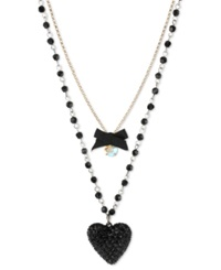 Betsey Johnson Gold Tone Black Glitter Heart Two Row Necklace