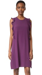 Carven Flutter Sleeve Dress Dark Violet