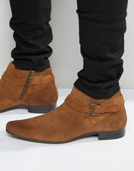 Asos Boots In Tan Suede With Buckle Strap Detail Tan