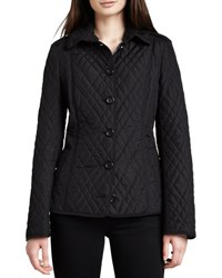Burberry Check Lined Quilted Jacket Black
