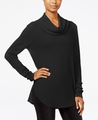 Ultra Flirt Juniors' Cowl Neck Waffle Knit Tunic Black