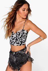 Boohoo Floral Lace Bustier Black