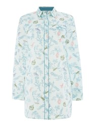 Dickins And Jones Woodland Print Cotton Sateen Nightshirt Green
