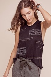 Anthropologie Beaded Linen Tank Black
