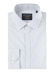Howick Men's Tailored Ruxton Dobby Stripe Shirt White