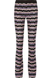 Missoni Crochet Knit Straight Leg Pants Blue