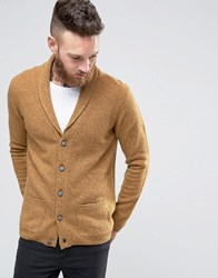 Asos Lambswool Rich Shawl Neck Cardigan Mustard Twist Yellow