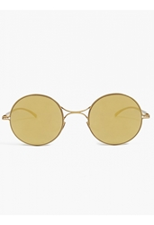 Mykita X Maison Martin Margiela Mirrored Gold Rounded Essential Sunglasses