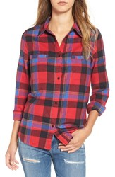 Roxy Women's 'Campay' Zip Detail Plaid Shirt Moon Plaid Combo Scarlet
