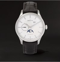 Zenith Elite Moonphase 40 Stainless Steel And Alligator Watch