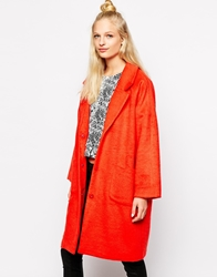 Monki Oversized Cocoon Coat Orange