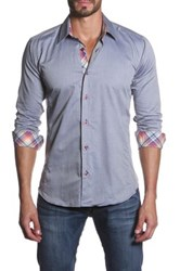 Jared Lang Long Sleeve Spread Collar Semi Fitted Shirt Gray