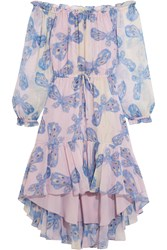 Diane Von Furstenberg Camila Printed Silk Chiffon Dress Light Blue Blush