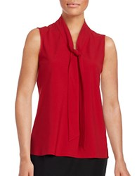 Nipon Boutique Crepe Tie Neck Top Fire Red