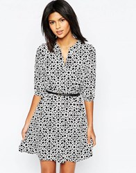 Yumi Belted Dress With 3 4 Sleeves In Geo Print White