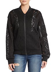 Bcbgmaxazria Brice Lace Bomber Jacket Black