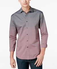 Vince Camuto Men's Ombre Long Sleeve Shirt Charcoal To Port Fade