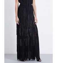 Elie Saab Fringed Leather And Floral Lace Maxi Skirt Black
