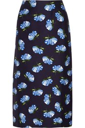 Mother Of Pearl Baylis Floral Print Cotton Blend Twill Midi Skirt Blue