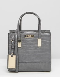 Carvela Mini Tote Cross Body Bag In Mock Croc Grey Croc