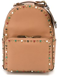 Valentino Garavani Studded Backpack Pink And Purple