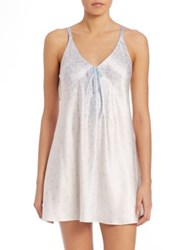 Oscar De La Renta Sleepwear Printed Satin Chemise Something Blue