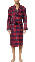 Sleepy Jones Glenn Flannel Plaid Robe Red Navy