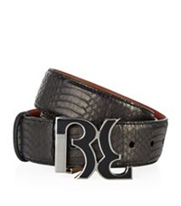 Billionaire Logo Buckle Sunbeam Snake Belt Black