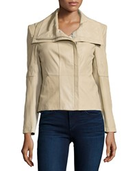 Neiman Marcus Leather Jacket With Ponte Panels Champagne