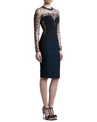 J. Mendel Beaded Sheer Yoke Long Sleeve Dress Eclipse