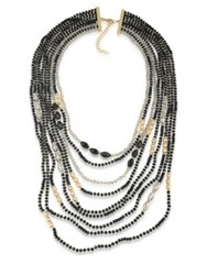 Abs By Allen Schwartz Dark Horse Multi Strand Beaded Necklace Black Gold