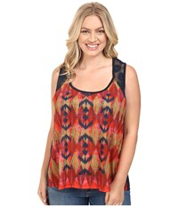 Roper Plus Size 0427 Poly Slub Jersey Tank Top Blue Women's Sleeveless