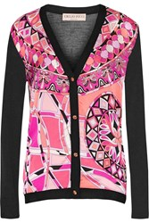 Emilio Pucci Paneled Printed Silk And Silk Jersey Cardigan Pink