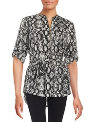 Calvin Klein Patterned Zip Placket Tunic Birch Multi