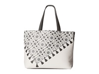 Echo Medallion Tassel Reversible Essex And Pouch White Charcoal Tote Handbags