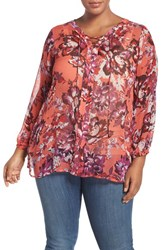 Lucky Brand Plus Size Women's Floral Print Lace Up Blouse Red Multi