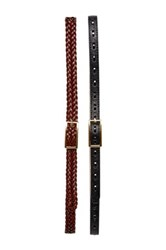 Fashion Focus Accessories Braided And Stitched Slim Belts Set Of 2 Black