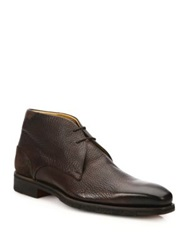 Saks Fifth Avenue By Magnanni Tumbled Calf Wingtip Ankle Boots Dark Brown