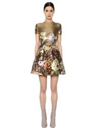Valentino Floral Printed Silk Shantung Dress