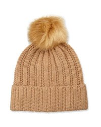 Neiman Marcus Knit Wool Blend Pompom Hat Camel Natural